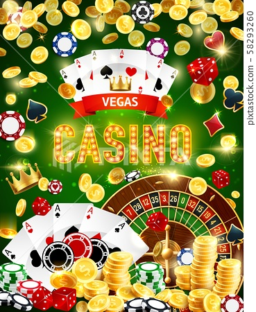 Casino Roulette Chips Dice Poker Cards And Coins Stock Illustration 58293260 Pixta