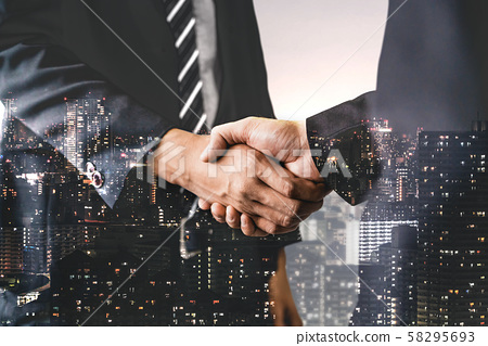 Double Exposure Image of Business and Finance. 58295693