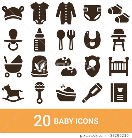 產品圖標嬰兒剪影20套 58296236