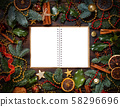 Christmas composition with notebook 58296696