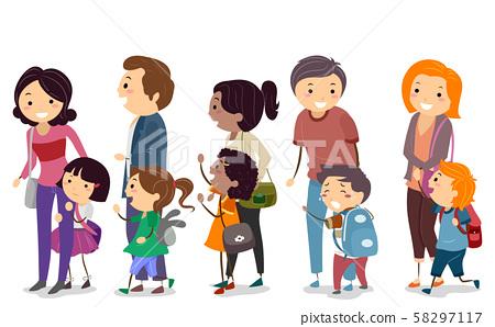 Stickman Kids Parents School First Day 58297117