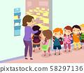 Stickman Kids Line Entering Classroom Illustration 58297136