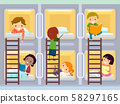 Stickman Kids Capsule Hotel Room Illustration 58297165