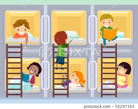 Stickman Kids Capsule Hotel Room Illustration 58297165