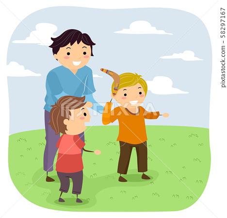 Stickman Kids Boys Learn Boomerang Illustration 58297167