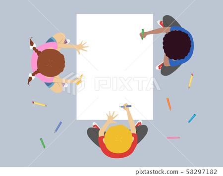 Kids Coloring Big Paper Illustration 58297182