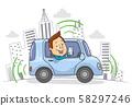 Self Driving Car Drive Man Illustration 58297246