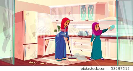 Arabian ladies wash kitchen. Servants cleaning 58297515