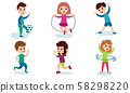 Set Of Vector Illustrations With Children Of Different Physical Activity Cartoon Characters 58298220