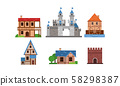 Set Of Flat Vector Illustrations With Different Types Of Buldings 58298387