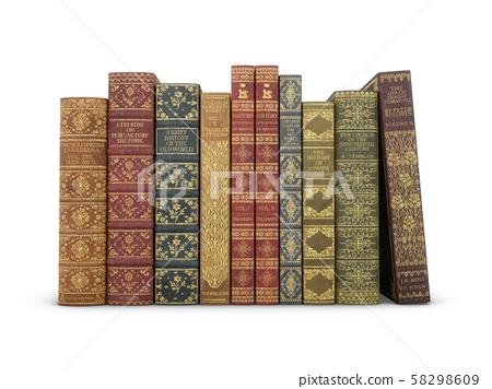3D rendering Old Books isolated on white background 58298609