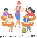 Girl and Boy Pupils, People in Classroom Vector 58298890