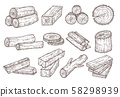 Sketch lumber. Wood logs, trunk and planks. Forestry construction materials hand drawn isolated 58298939