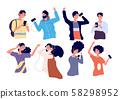 People listen music with earphones. Happy young men and women with headphones and smartphone 58298952