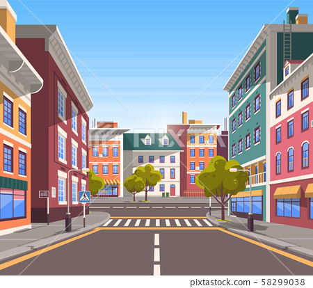 Modern City Street, Realistic Tranquil Town Look 58299038