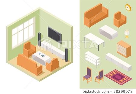 Living Room Isometric Vector Home Interior And Stock Illustration 58299078 Pixta
