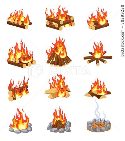 Cartoon bonfire. Summer campfires flame with firewood. Burning stacked wood. Flat gaming camping 58299228