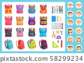 Office Equipment, Girl and Boy and Backpack Vector 58299234
