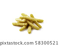 Pile of prawn crackers on white background  58300521