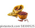Dry Red Beans in a wooden bowl and in a sack 58300525