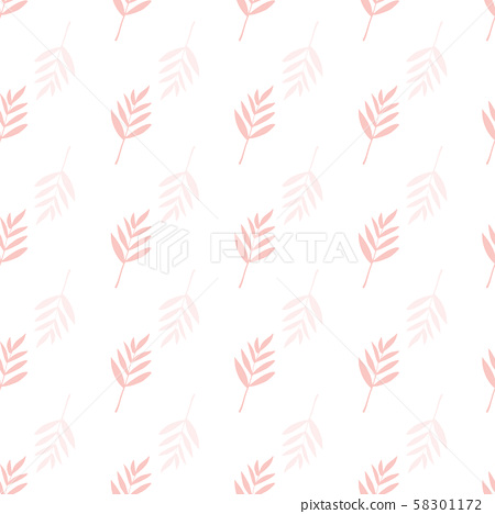 Seamless repeat vector floral pattern. Pinnate leaf background in coral pink on white backdrop 58301172