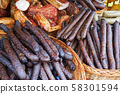 smoked sausages and other pork meat 58301594
