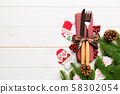 Top view of festive cutlery on new year wooden 58302054