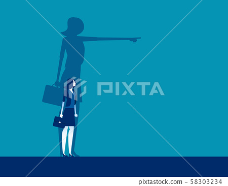 Businesswoman and shadow pointing to target. 58303234