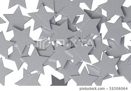 Silver Stars pattern isolated on white background. 58306064