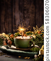 Christmas greeting card with hot chocolate milk 58306070