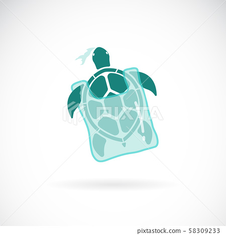 Vector of turtle trapped in a plastic bag. Animal. 58309233