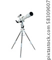 telescope on a tripod isolated on white background with clipping path 58309607