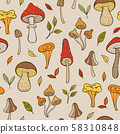 Autumn pattern with forest mushrooms 58310848