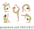 Vector illustration of poses of yoga. 58311813