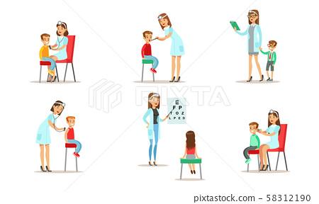 Doctor Doing Medical Examination of Kids Set, Boys and Girls Examining at Pediatrician 58312190