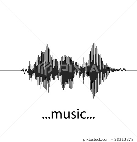 Vector Sound Waveforms. Sound waves and musical pulse icons. 58313878