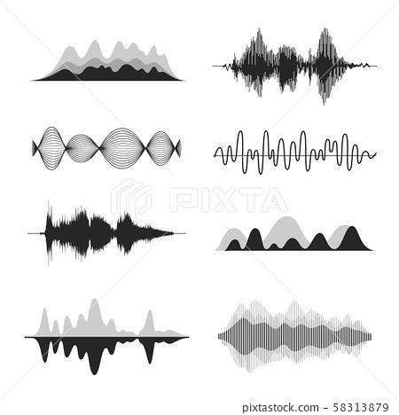 Vector audio wave set. 58313879