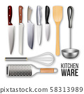 Different Knives And Cook Kitchen Ware Set Vector 58313989