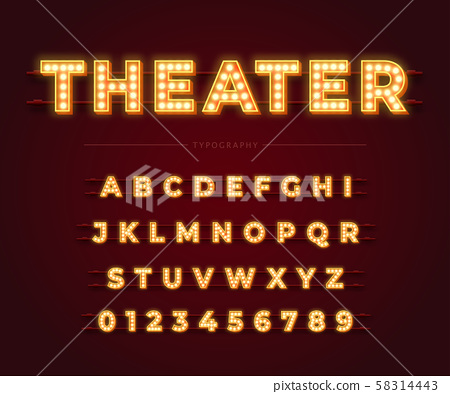 3d light bulb alphabet with gold frame isolated on dark red background. 58314443