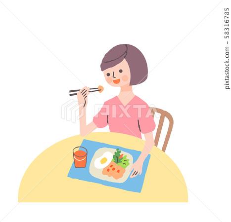 식사를하는 여성 58316785