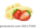 Banana and strawberry isolated on white background with clipping path 58317560
