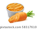 Carrot puree isolated on white background with clipping path 58317610