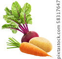 Fresh vegetables, heap of whole carrot, potato and beetroot isolated on white background 58317647