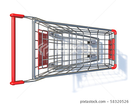 Top view of empty shopping cart 3D 58320526