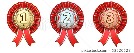 Medals with red ribbons 3D 58320528