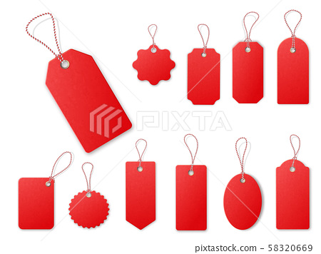 Red Sale Tags Relistic Texrure Vector Templates Stock Illustration 58320669 Pixta