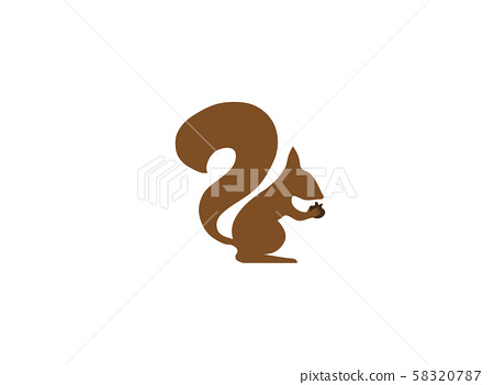 Squirrel eating walnuts almonds for logo design illustration on white background 58320787