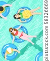 Summer holiday, summer vacation time in Aquapark illustration 004 58326669