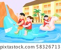 Summer holiday, summer vacation time in Aquapark illustration 007 58326713