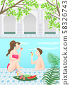 Summer vacation and traveling concept, People enjoying holiday illustration 001 58326743
